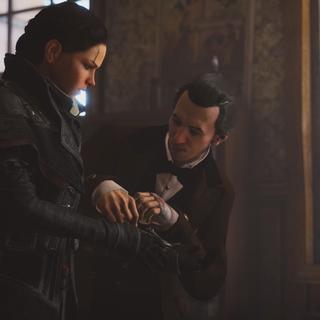 贝尔将绳索发射器安装在伊薇的护臂上