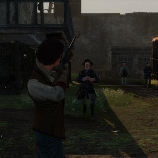 埃莉斯用滑膛枪向一名士兵射击