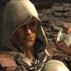 爱德华将一个血瓶插入水晶头骨中