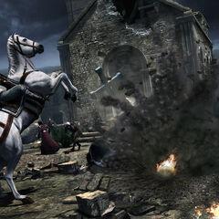 Ezio évitant les tirs au <a href=