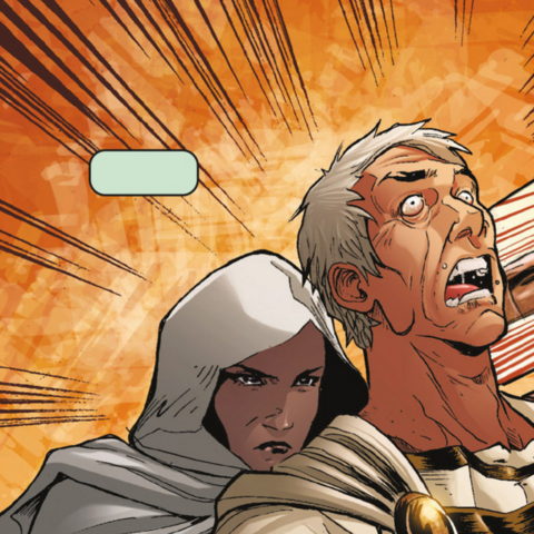 Aya stabbing Caesar as shown in the comics