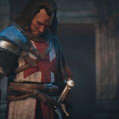 Le <b>chevalier</b> détenant l'épée prodigieuse