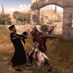 Ezio assassinant le bienfaiteur