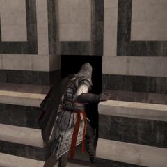 Ezio pénétrant dans la cathédrale