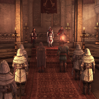 Assassins gathered at their Tiber Island hideout