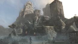 Altaïr przed zamkiem w Masjafie