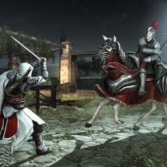 Ezio affrontant un cavalier à l'épée
