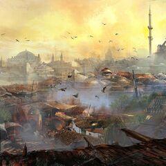 君士坦丁堡的屋上风光
