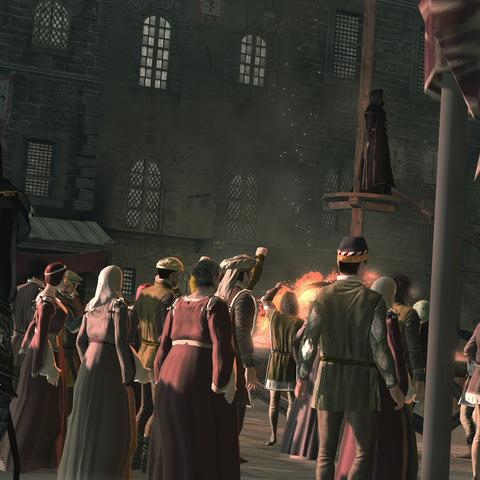 Ezio observant Savonarola depuis la foule