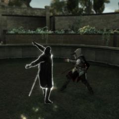 Ezio ontwijkt de aanvallen.