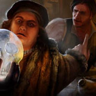 博姆巴斯茨与乔瓦尼·博吉亚研究一只水晶头骨