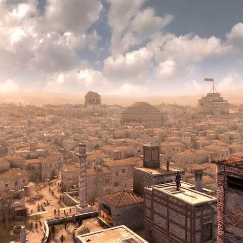 Ezio escaladant la <b>Tour des Milices</b>