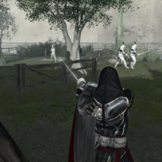Ezio visant le Paysan avec son <a href=