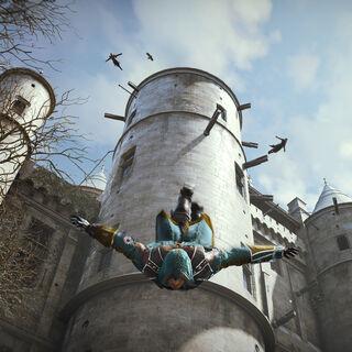 Quatre Assassins sautant du toit du <b>Temple</b>