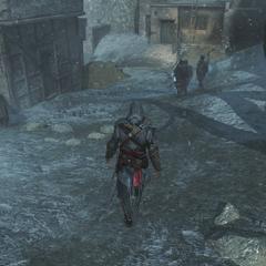 Ezio achtervolgt een groep <a href=