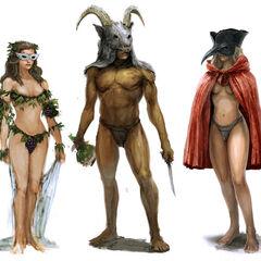 Concept-art van de gasten van het heidense feest.