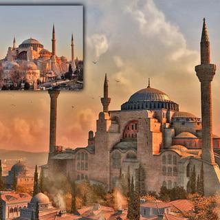 现实中的圣索菲亚大教堂与《刺客信条:启示录》中游戏场景的对比图