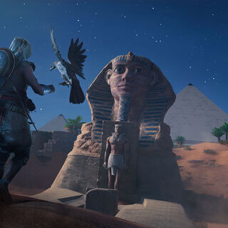 Bayek and Senu facing the Sphinx at night