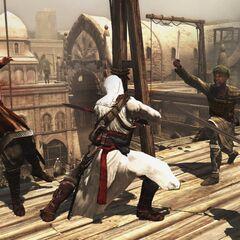 Altaïr combattant les gardes sur les toits du <a href=