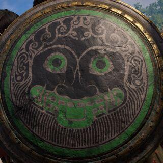 一张戈耳工的脸,可能是美杜莎,出现在一张盾牌上