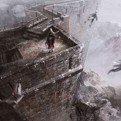 Assassins performing Leaps of Faith from the battlements