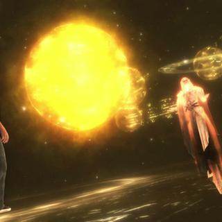 Jupiter et Desmond Miles au cours d'un <b>Nexus temporel</b>