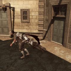 Ezio plaquant le détrousseur au sol