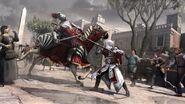 Ezio tuant un cavalier à la lance