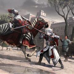 Ezio transperçant un cavalier à la lance
