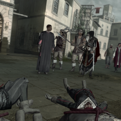 Niccoló and Ezio finding the corpses of Borgia guards