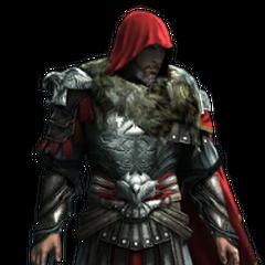 Ezio âgé portant l'<b>Armure de Brutus</b>