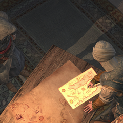 Piri showing Ezio the location of the Polo trading post