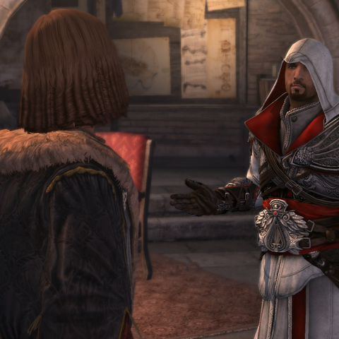 Salaì and Ezio having found no clues on the paintings