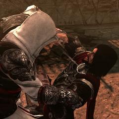 Cesare battling Ezio at the Siege of Viana
