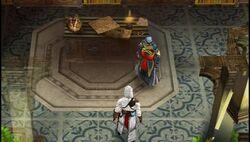 Altaïr discute con Al Mualim