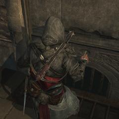 埃齐奥使用钩刃解锁一个秘密入口