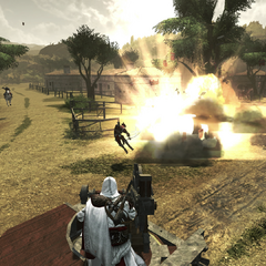 Ezio vernietigt een buskruitopslag.