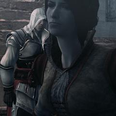 Cristina loopt boos weg van Ezio