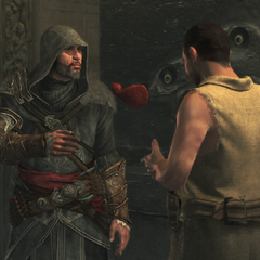 Ezio geeft Adad een zak geld
