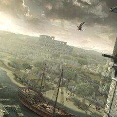 Ezio tuant un capitaine en haut de sa <b>tour</b>