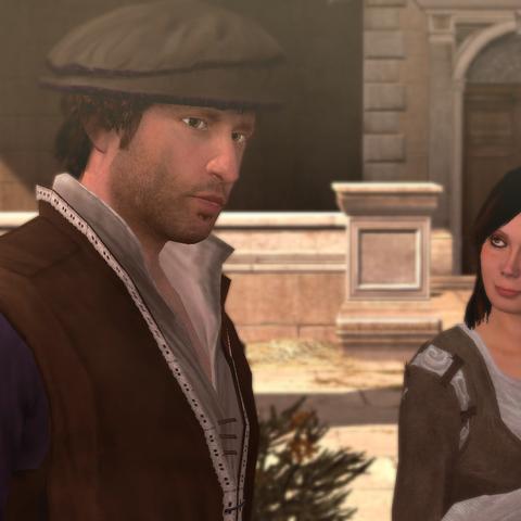 达西奥和一个女人在罗马的码头
