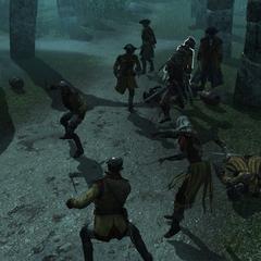 Edward en Opía vechten met de wachters