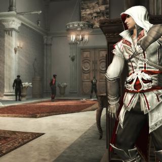 Ezio se cachant à la vue des gardes