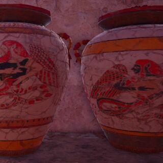 绘制着提丰形象的瓦罐