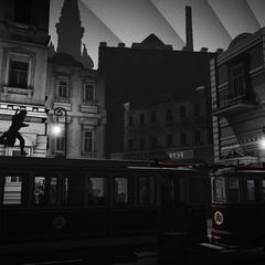Nikolai auf einer Straßenbahn