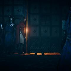 Les soldats de Philippe se tenant prêts derrière la porte