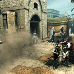 La Brigande s'apprêtant à être tuée par deux Pirates