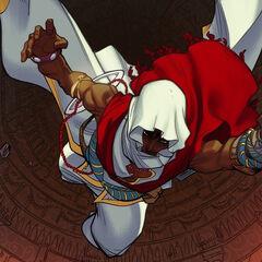 阿尔巴兹米尔带着三尖刀跃下