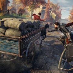 伊薇跳向另一驾马车