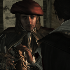 Leonardo met Ezio's verborgen mes.